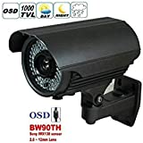 BW® WHOLESALE PRICE, Newest BW90TH HD 1000TVL SONY IMX138 CCTV Waterproof Outdoor camera With 2.8- 12 lens ZOOM&FOCUS IR 60M-Grey