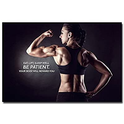 Bodybuilding Fitness Motivational Art Silk Fabric Poster