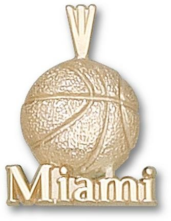 Miami Hurricanes Miami Basketball Pendant - 14KT Gold Jewelry by Logo Art
