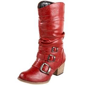 Vegan red cowboy biker boots
