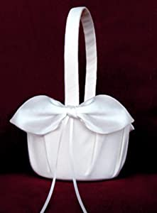 White Wedding Bridal Flower Girl Basket with Satin Bow and Ribbon from Fions