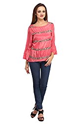 Fashionite Poly Crepe Pink Top For Women Size-XL