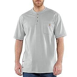 Carhartt Men\'s Big & Tall Flame Resistant Force Cotton Short Sleeve Henley,Light Gray,XXX-Large