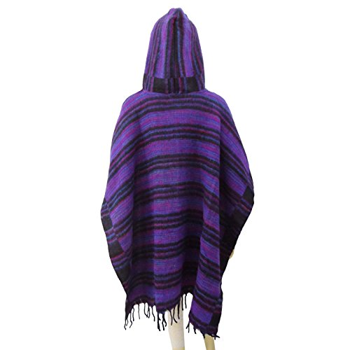 Purple Poncho With Hood Women Winter Wear Wool Blend Plus Size Boho Clothing