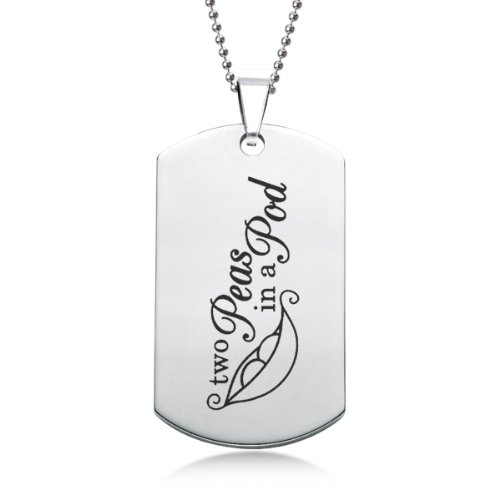 Two Peas In A Pod Stainless Steel Dog Tag  Gift