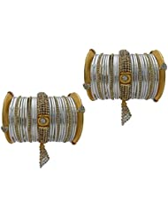 White Jhumki Bridal Chura Wedding Bangles Chuda By My Design(size-2.4)