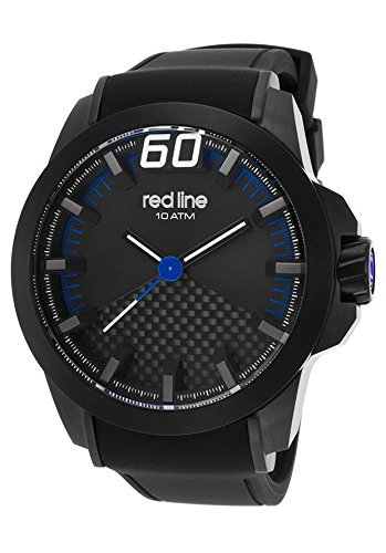 Red Line Men's Black Zone 50mm Silicone Band IP Steel Case Sapphitek Crystal Quartz Watch 305-BB-01-BLA