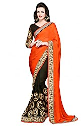 Pragati fashion Hub Orange Faux Georgette Saree