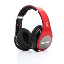 Bluedio R+ Bluetooth Stereo Hi-fi Headphone the upgrade version of R Supports NFC aptX® audio suppression solution Bluetooth4.0 8 Tracks headset Support Line-iN Mode Multi-Media Playing Micro-SD Card(32GB) Playing (Red)
