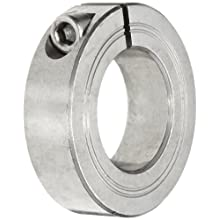 "Climax Metal M1C-22-S Shaft Collar, One Piece, Stainless Steel, Metric, 22mm Bore, 1-3/4"" OD, 15mm Width, With M6 x 16 Clamp Screw"