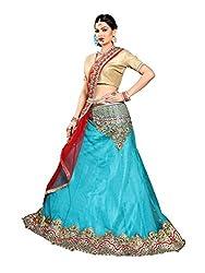 Jiya Presents Embroidered Net Lehenga Choli(Turquoise,Beige)