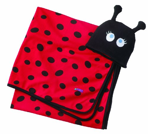 Sozo Baby-Girls Newborn Ladybug Swaddle Blanket and Cap Set, Red/Black, One Size