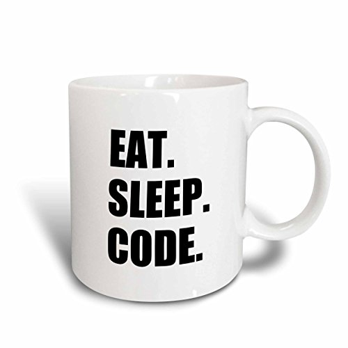 3dRose mug_180391_2 Eat Sleep Code-Computer Coder, Programmer, Love to Program, Coding Ceramic Mug, 15-Ounce