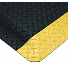 Wearwell PVC 414 UltraSoft Diamond-Plate Heavy Duty Anti-Fatigue Mat, Safety Beveled Edges, for Dry Areas, Black / Yellow