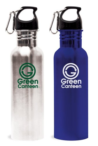 Green Canteen Stainless Steel 25-Ounce Sports and Hydration Water Bottle, Silver and Blue, 2-Pack