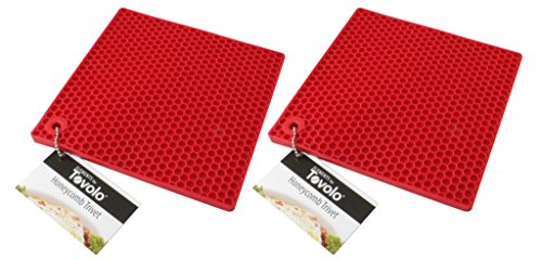 TOVOLO 7-Inch Silicone Trivet / Potholder 2-Pack - Red Honeycomb