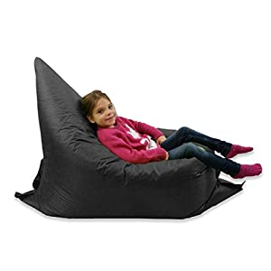 Kids BeanBag Large 6-Way Garden Lounger - GIANT Childrens Bean Bags Outdoor Floor Cushion BLACK - 100% Water Resistant by Home And Garden