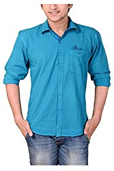 Anry Sky Blue Cotton Casual Shirts for Men