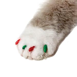 Feline Soft Claws 40-Pack Pet Holiday Colors Nail Cap Kit, Medium, Red and Green