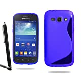 Samsung Galaxy Ace 3 S7272 Grip Wave S Line Silicone Case Cover + Screen Protector + Stylus (Blue)