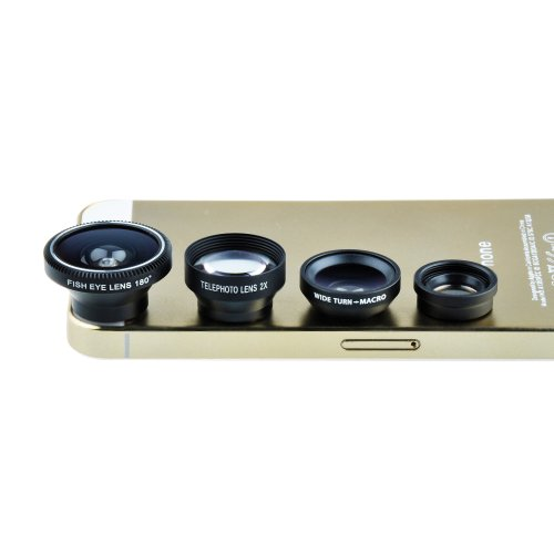 Victsing Magnetic Detachable Fish-Eye Lens Wide Angle Micro Lens Telephoto Lens 4-In-1 Kits Sliver Fpr Smartphones And Tablets With Flat Camera (Black)