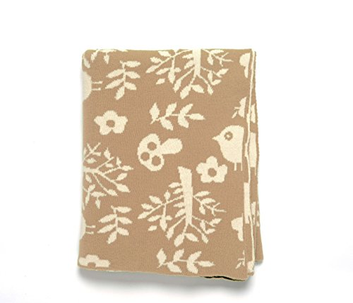"DARZZI Forest Friends Baby Blanket, Stone/Natural, 35""x45"""