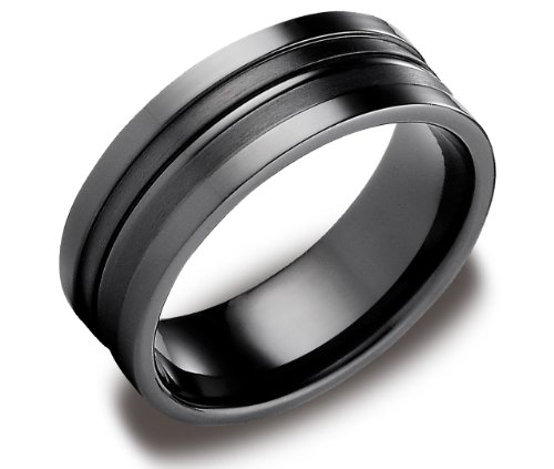 Men's Black Titanium 8mm Satin Finish Comfort Fit Wedding Band with High Polished Center, Size 8