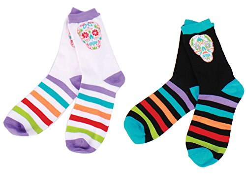 Set of 2 DAY OF THE DEAD Halloween Sugar Skull Pattern Knitted Crew Socks
