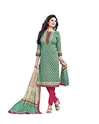 Drapes Women's Cotton Printed Unstitched Dress Material (Green)
