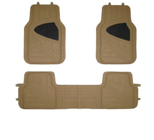 TAPAM 4pc Universal Car Floor Mat for All Weather Beige