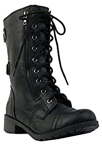 Top Moda Women's Pack-72 Lace Up Combat Boot,7.5 B(M) US,Black-22