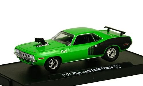Plymouth Hemi Cuda Tuning, light green/matt-black, 1971, Model Car, Ready-made, M2 Machines 1:64 (Hemi Motor Model compare prices)