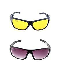 Elligator Multi-Coloured Sport Sunglasses (ELG_Nightvision_Purple&Yellow)