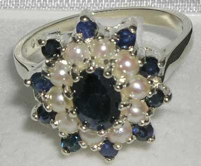 925 Sterling Silver Natural Sapphire and Cultured Pearl Womens Cluster Ring - Sizes 4 to 12 Availabl..