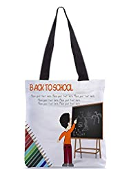 Snoogg Cute Boy Standing In Front Of Blackboard Designer Poly Canvas Tote Bag
