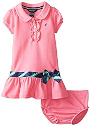 Nautica Baby Girls\' Pique Polo Dress with Gold Buttons, Pink, 24 Months