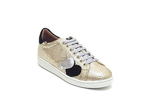 Twin Set scarpa donna, modello CS6PGA, sneakers in pelle stampa pitone, colore oro