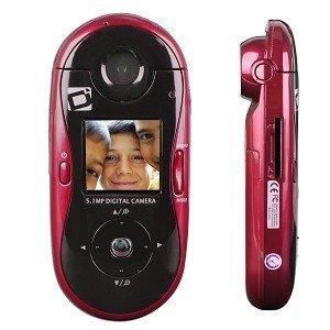 Sakar Swivel Shot 5.1MP 8x Digital Zoom HD Camera w/180° Rotating Lens (Red) - Record Yourself & Enj