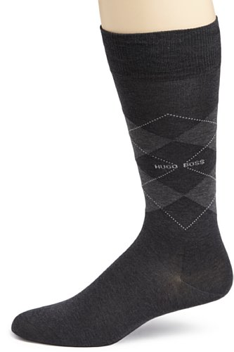 HUGO BOSS Men's Boss Black Argyle,Charcoal,Size 10-13