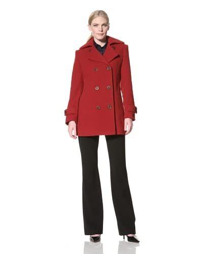 Jones New York Women's Peacoat with Quilted Detail  - Red
