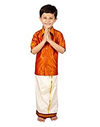 Thangamagan Baby Boy's Shirt/Dhoty Regular Fit (Orange Red,Age : 6 to 12 Months)