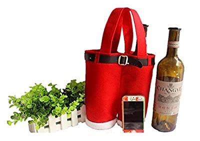 1 Piece of New Fancy Handmade Big Red Christmas Santa Pants Gift Bags Candy Wine Bottle Holder Party Decoration High Quality