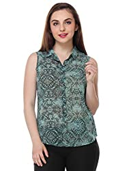 PURYS Sleevless Green Printed Buttoned Shirt - X-Large