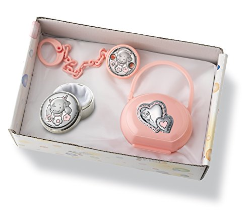Silver Touch USA Sterling Silver Set Pacifier Case Plus First Tooth Plus Pacifier Clip Baby Gift Set, Pink