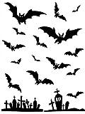 Fledermäuse Friedhof Aufkleber Halloween Deko schwarz 23x10cm