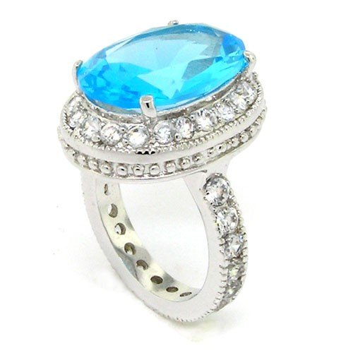 Romantic Vintage Promise Sterling Silver Ring w/Blue CZ Size 9