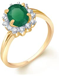 Sukkhi Enchanting Gold And Rhodium Plated CZ Studded Emerald Ring For Women