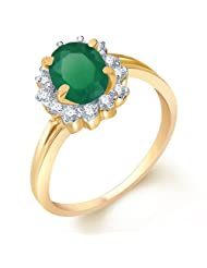 Sukkhi Enchanting Gold And Rhodium Plated CZ Studded Emerald Ring