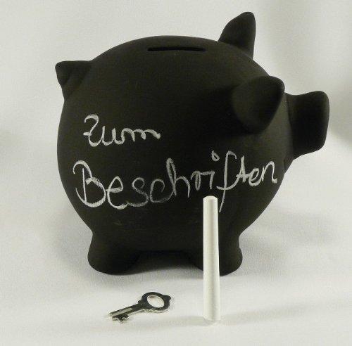 Sparschwein aus Keramik zum Beschriften mit Kreide, Tafellack, Kreidetafel