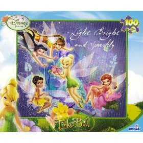 Tinkerbell Disney Fairies 100 Piece 9-1/8 X 10-3/8 Jigsaw Puzzle Age 5+, Light, Bright and Sparkly - 1